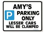 AMY'S Personalised Parking Sign Gift | Unique Car Present for Her |  Size Large - Metal faced